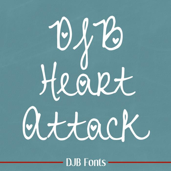 DJB Heart Attack font by Darcy Baldwin Fonts