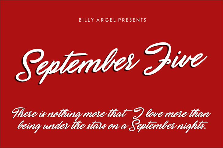 September Five Personal Use font by Billy Argel