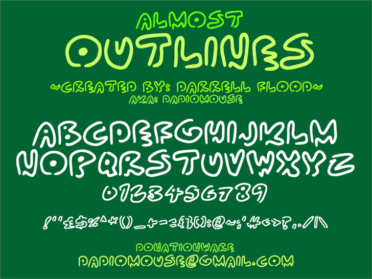 Almost Outlines font by Darrell Flood