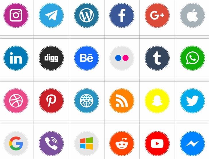 Icons Social Media 11 font by elharrak
