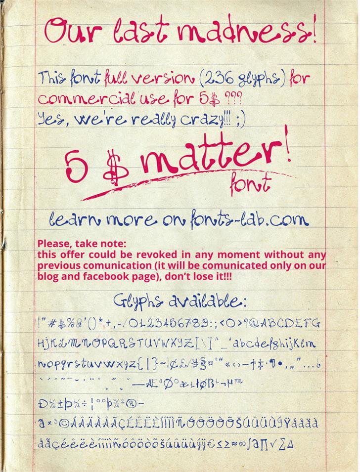 madness=five$matter! font by FontsCafe