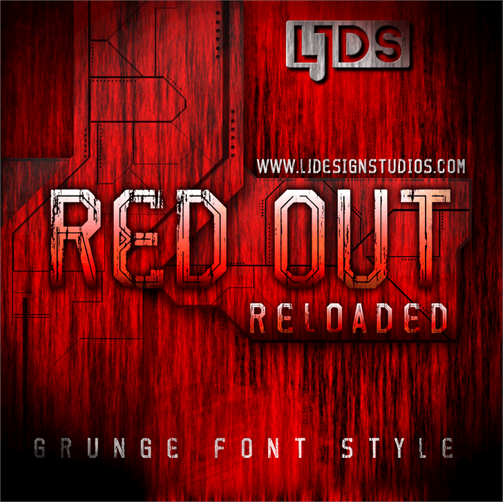 Red Out Reloaded font by LJ Design Studios