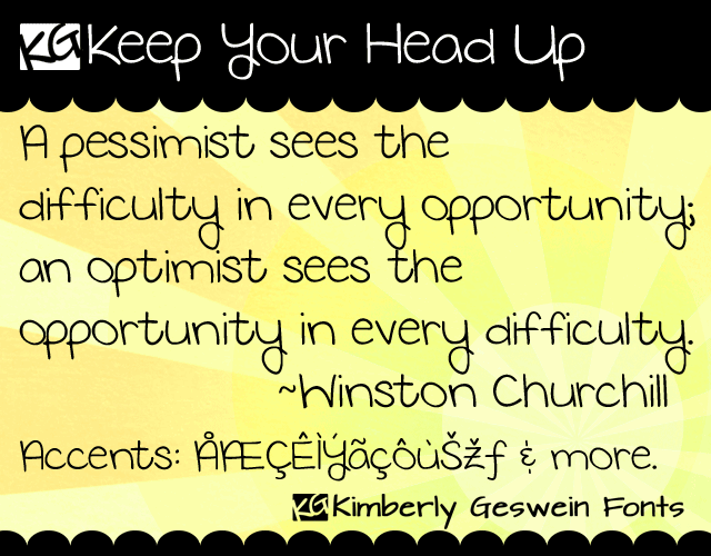 KG Keep Your Head Up font by Kimberly Geswein