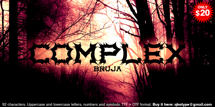 Complex bruja font by Qbotype Fonts