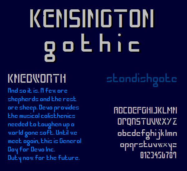 Kensington Gothic NBP font by total FontGeek DTF, Ltd.
