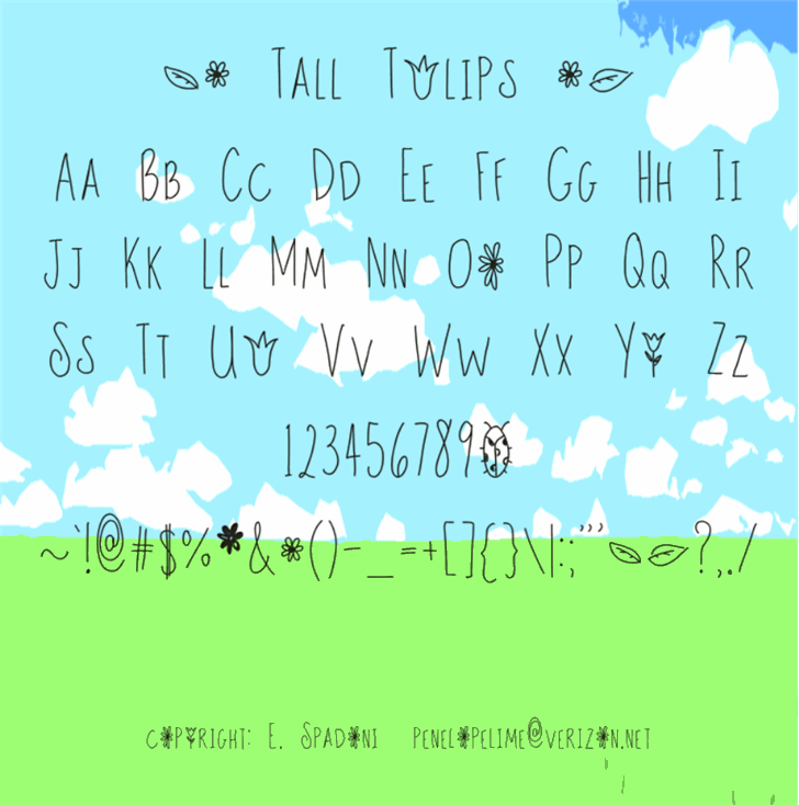 Tall Tulips font by Emily Spadoni
