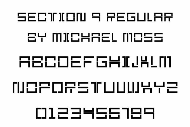 Section 9 font by Mechanismatic