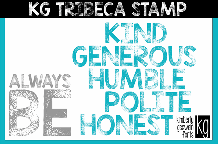 KG TRIBECA STAMP font by Kimberly Geswein