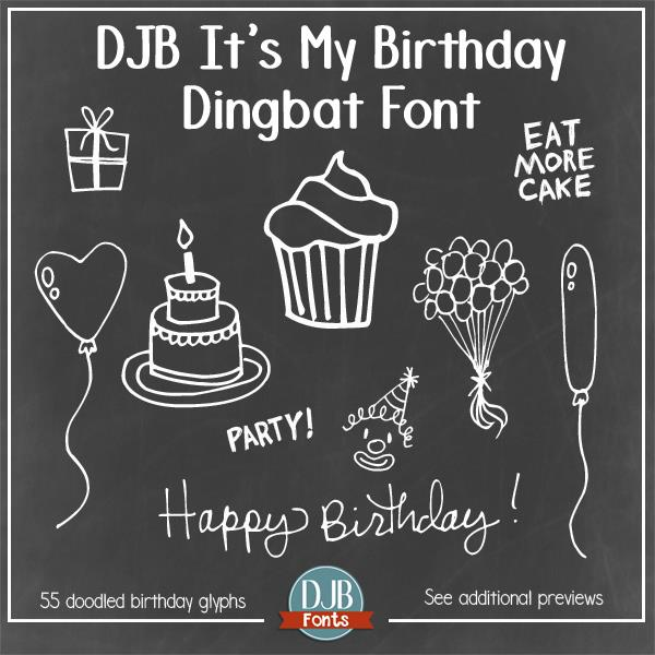 DJB It's My Birthday font by Darcy Baldwin Fonts