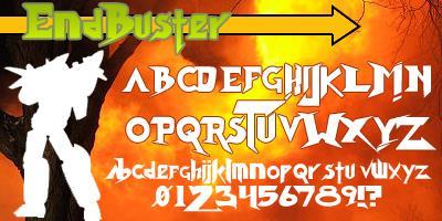 Endbuster font by Press Gang Studios