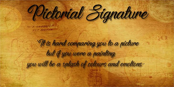 Pictorial Signature font by Foundmyfont Studio Typeface LTD
