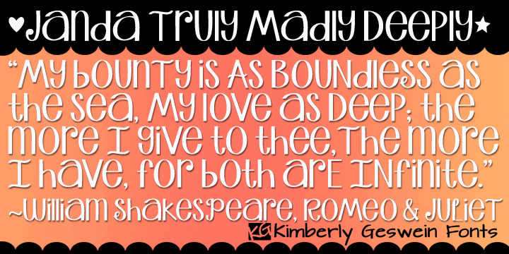 Janda Truly Madly Deeply font by Kimberly Geswein