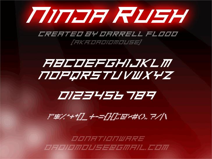 Ninja Rush font by Darrell Flood
