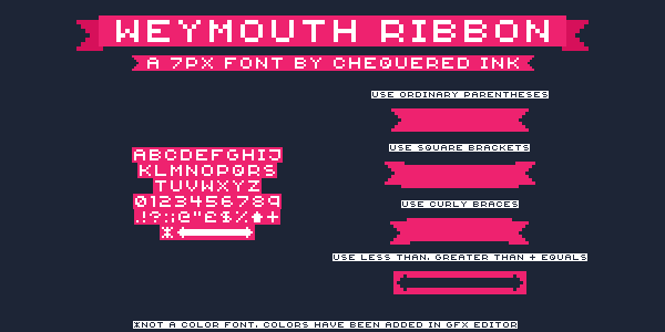 {Weymouth Ribbon} font by Chequered Ink