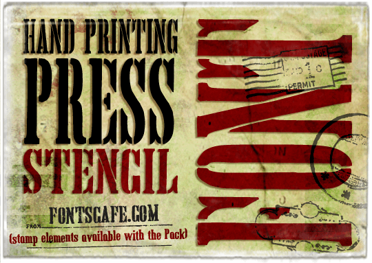 Hand Printing Press Stencil_dem font by FontsCafe