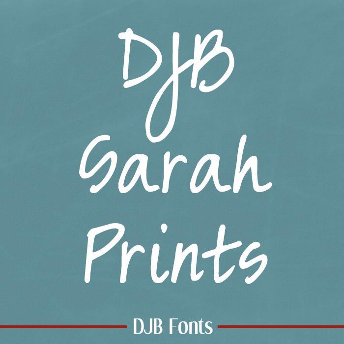DJB Sarah prints font by Darcy Baldwin Fonts