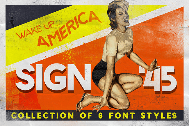 Sign45- Stamped font by LeoSupply.co