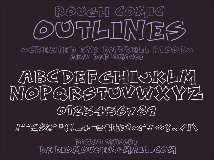 Rough Comic Outlines font by Darrell Flood