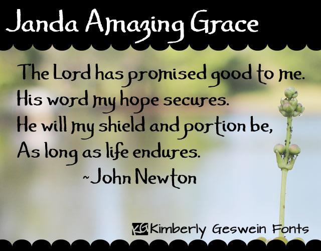 Janda Amazing Grace font by Kimberly Geswein