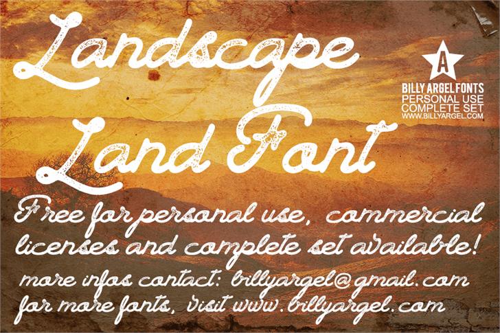 Landscape Land PERSONAL USE font by Billy Argel