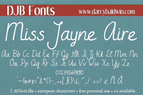 DJB Miss Jayne Aire font by Darcy Baldwin Fonts