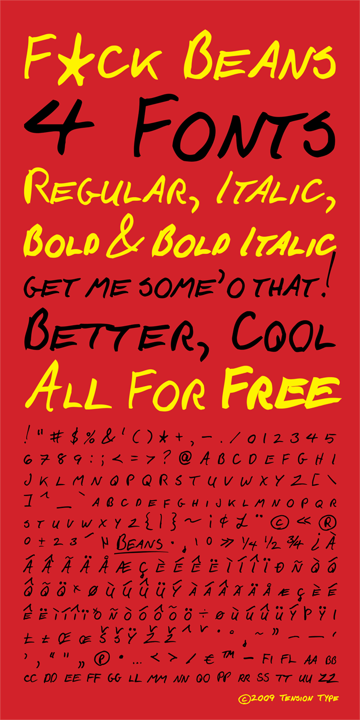 F*ck Beans font by Tension Type