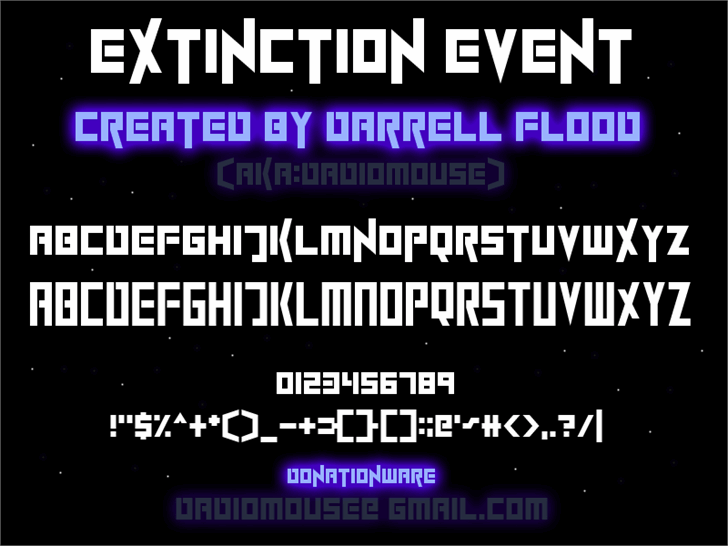 ExtinctionEvent font by Darrell Flood