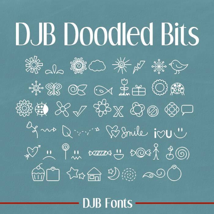 DJB DOODLED BITS font by Darcy Baldwin Fonts
