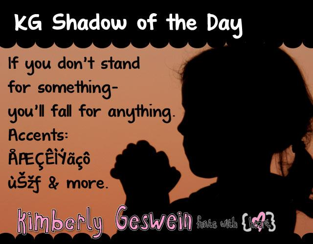 KG Shadow of the Day font by Kimberly Geswein