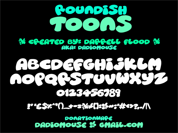 Roundish Toons font by Darrell Flood