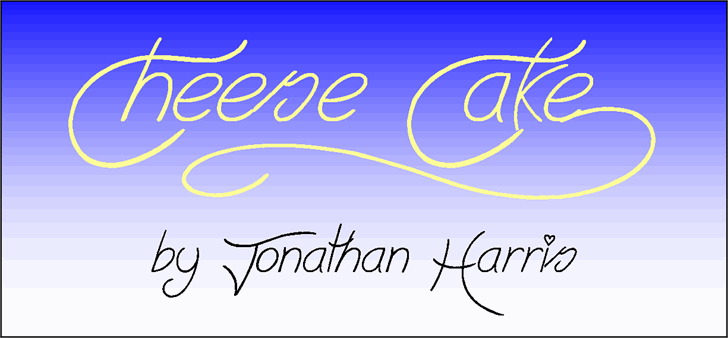 Cheese Cake font by Jonathan S. Harris