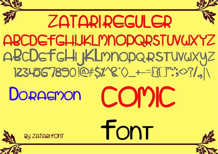 zatari reguler font by Zatari