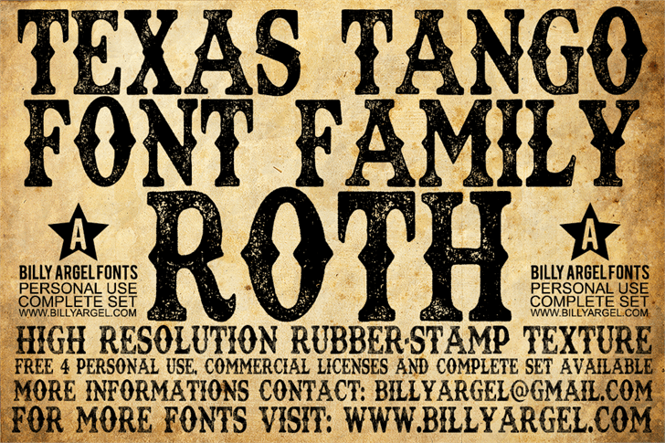 TEXAS TANGO EXTRA ROTH PERSONAL font by Billy Argel