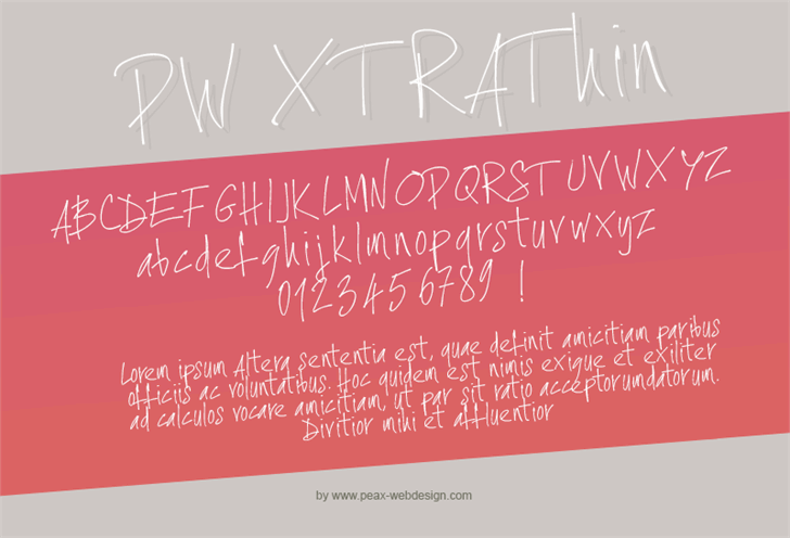 PWXtraThin font by Peax Webdesign