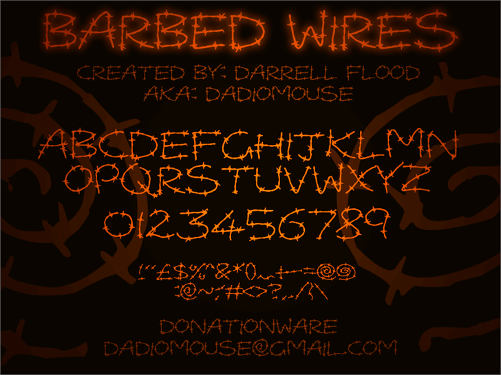 Barbed Wires font by Darrell Flood