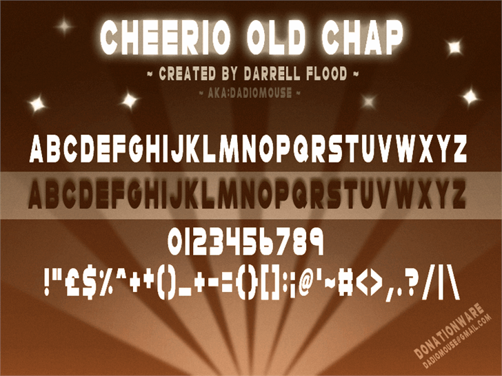 Cheerio Old Chap font by Darrell Flood