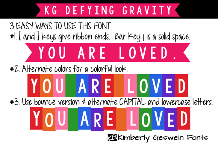 KG Defying Gravity font by Kimberly Geswein