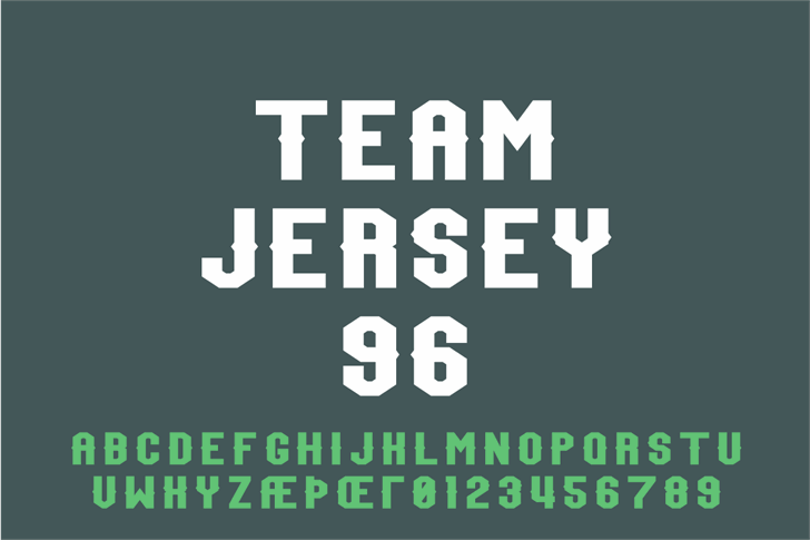 Team Jersey 96 Demo font by Out Of Step Font Company