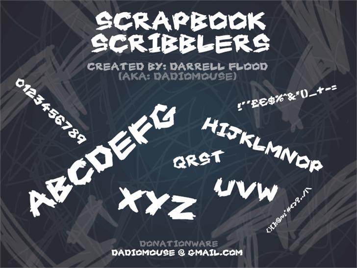 Scrapbook Scribblers font by Darrell Flood