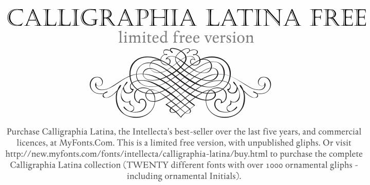 Calligraphia Latina Free font by Intellecta Design