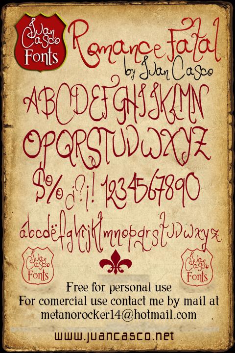 Romance Fatal font by Juan Casco
