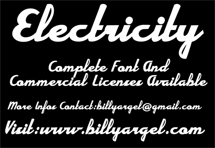 Electricity Personal Use font by Billy Argel