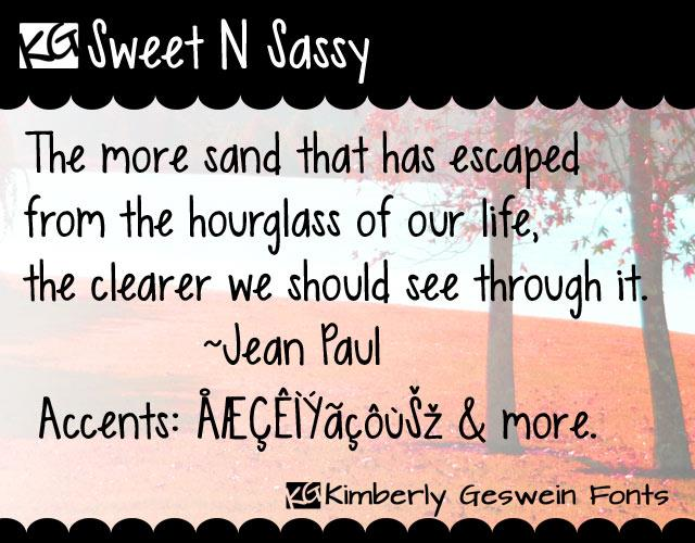 KG Sweet N Sassy font by Kimberly Geswein