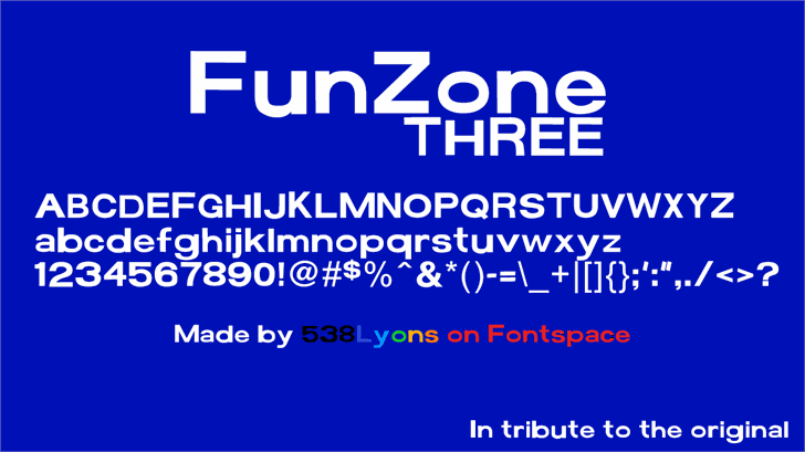 FunZone Three font by 538Fonts