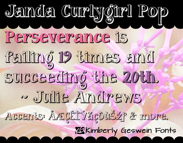 Janda Curlygirl Pop font by Kimberly Geswein