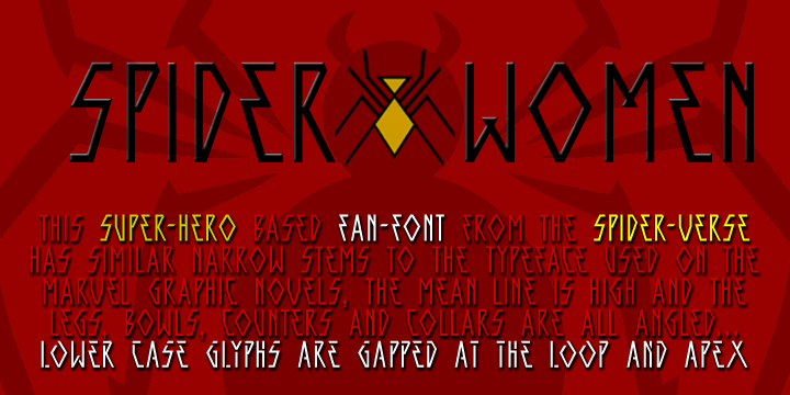 SPIDER-WOMEN font by SpideRaYsfoNtS
