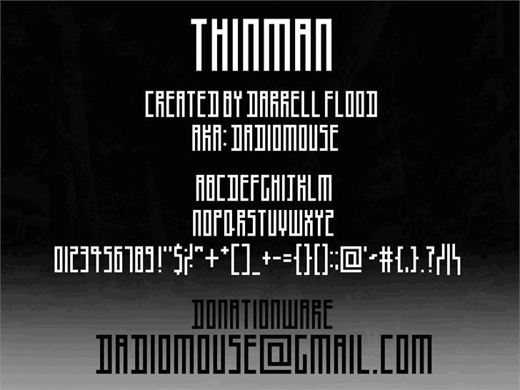 Thinman font by Darrell Flood