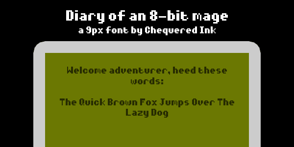 Diary of an 8-bit mage font by Chequered Ink