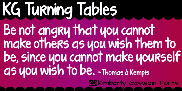 KG Turning Tables font by Kimberly Geswein