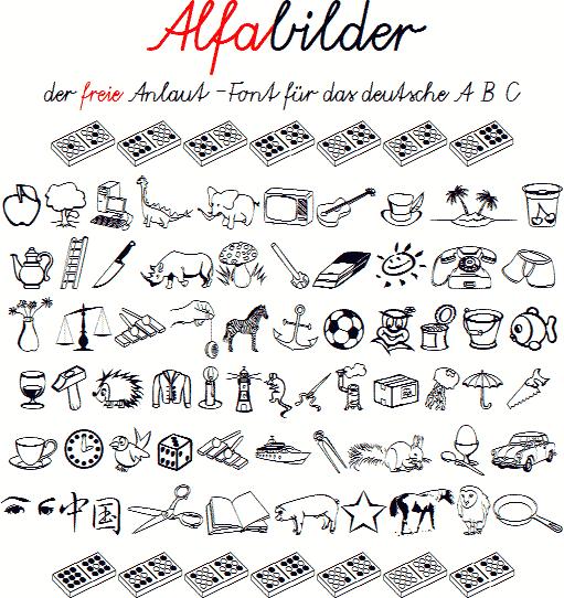 Alfabilder font by Peter Wiegel